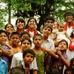 Theatre actors with the kids of Najafgarh
